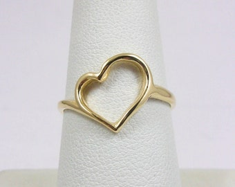 BRAND NEW! Solid 10K Yellow Gold Heart Ring, Pierced, Sizes 3 - 12