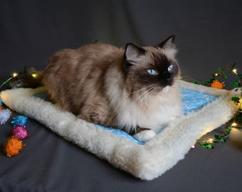 cat bed, Luxury cat bed, warm fur placemat  winter blanket for cat - cotton and faux fur cat placemat -  gift for cat