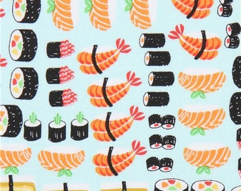 213277 light blue fabric with colorful sushi food by Timeless Treasures
