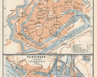 1911 Amsterdam Netherlands Holland Vintage Map