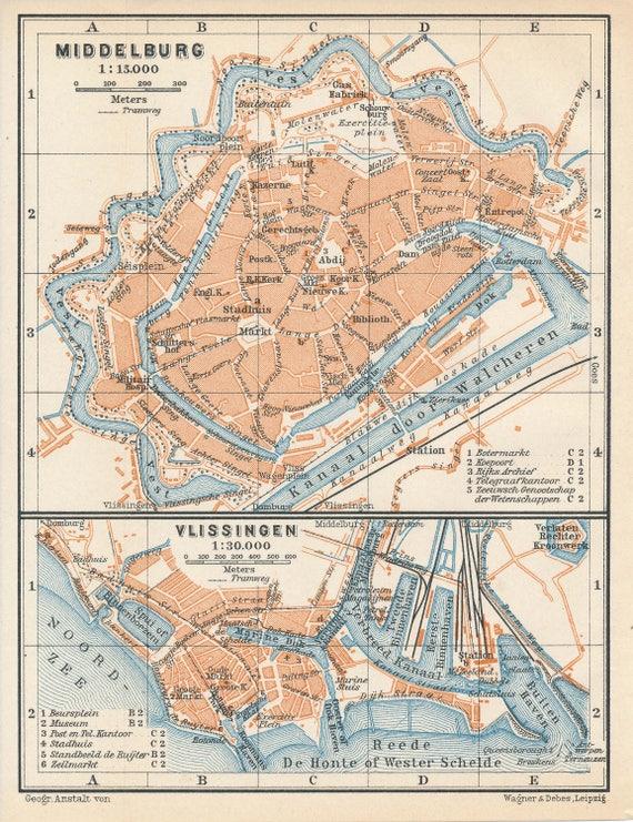 1910 Middelburg and Vlissingen Flushing Netherlands