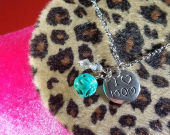 I love mom sterling silver necklace