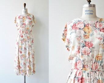 Summer Rose dress | vintage floral rayon dress | pastel floral dress