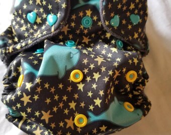 Custom  Narwhale Diaper you choose type and size Nb/Sm or Onesize