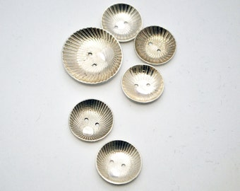 Handmade Sterling silver buttons- Japanese Illusion buttons - Large Etched silver buttons - x6