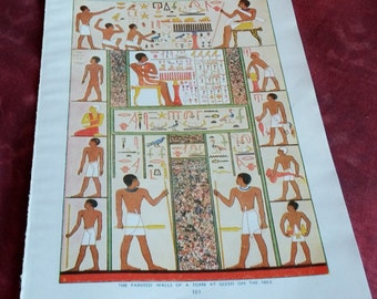 Antique print EGYPT NILE TOMB Egyptian 1920s color decor