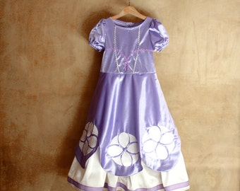 Sofia the First costume, Birthday purple Outfit Unique dress gift idea for little girls, Princess School Play Dress up Party, small to large