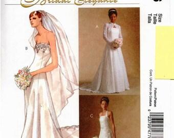 UNCUT McCall's Bridal Elegance Pattern M4776 - Misses Shrug and Lined Wedding Dresses - BRIDAL - 4-10
