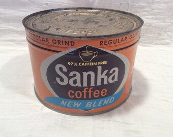 Vintage Sanka Coffee can, in tact, never been opened with key on bottom