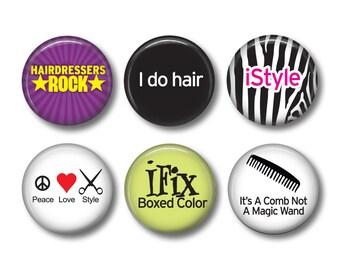 Hairdresser pinback button badges or fridge magnets , fridge magnet set