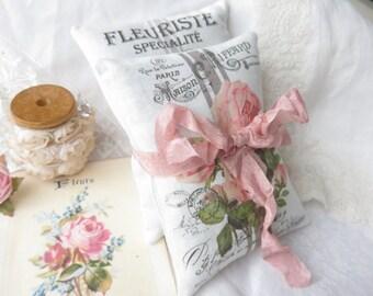 Belle Rose French Grainsack Lavender Sachet Gift Bundle, FREE USA SHIPPING, Set of 2 Sachets, with gift bag tag, Shabby Roses Sachets