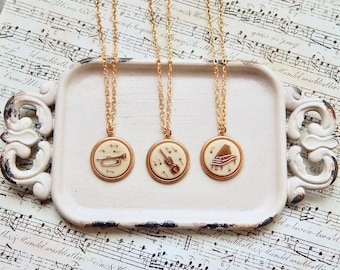 Melody - music charm necklace - violin - trumpet - piano - music teacher - music lover