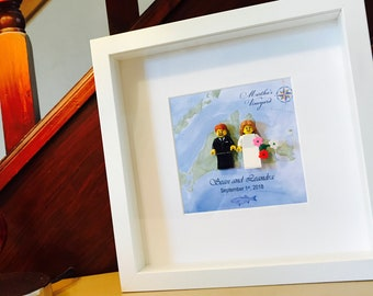 Marthas Vineyard wedding gift Lego® frame. Customable!!