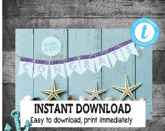 Mermaid Banner  | Edit Yourself Mermaid Birthday Bannerl | Mermaid First  Birthday - Includes all letters | Purple Teal  | INSTANT DOWNLOAD