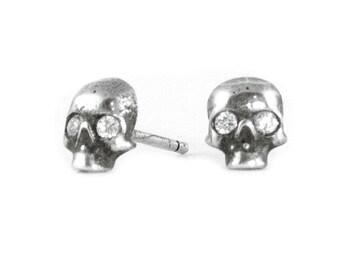 Diamond Skull Stud Earrings