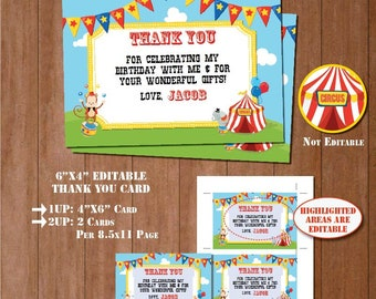 SELF-EDITING Carnival Thank You Card- CIRCUS Thank You Notes-Carnival 1st Birthday-Any Age-Printable Thank You Card-4x6 Thank You Tag-A116-1