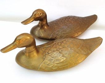 Vintage Brass Ducks | Life Size Ducks | Large Metal Ducks | Doorstop | Brass Animals | Brass Figurines | Mallard Ducks | Coastal Living