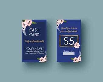 Piphany Custom Digital cash card -Fashion Consultant-Floral Design- 2x3.5in