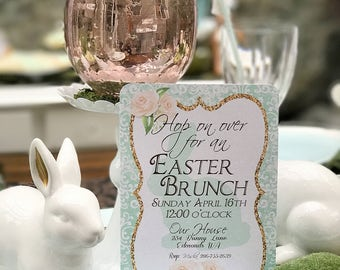 Easter Invitation - Easter Brunch - PRINTABLE- Bunny Party - Mint and white - Vintage
