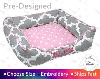 Girly Pink & Gray Dog Bed or Cat Bed - Gray, White, Light Pink, Quatrefoil, Polka Dot | Washable, Reversible and High Quality - Ships Fast!