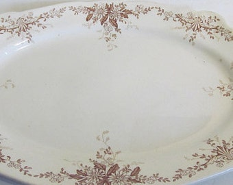 16 x 12 Large Antique Brown Transferware Platter Victorian era Platters Maddock Hendrick Aesthetic Movement 1800s China Antique Platters