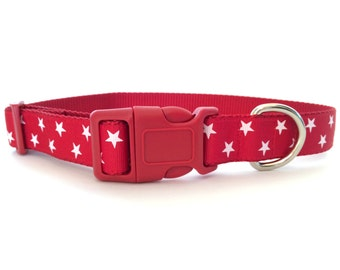 Red and White Stars Dog Collar - Valentines Day, Adjustable, 1 inch