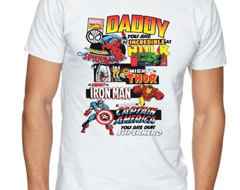 Daddy Marvel Comic Book Style Fathers Day T-Shirt Dad Present Gift Superhero Tee