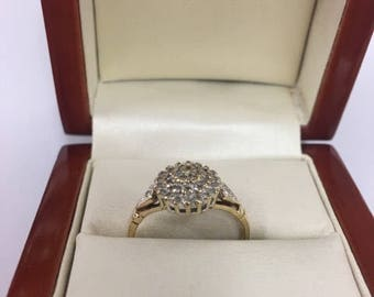 9ct Yellow Gold Diamond Cluster Ring Size M