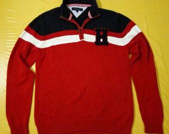 Tommy Hilfiger Pullover Sweater Zipper H Logo size XL Mens