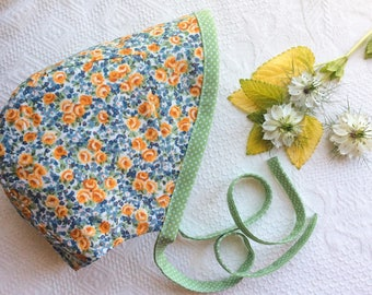 Baby Bonnet, Bonnet, Sunbonnet, Cotton Bonnet, Toddler Bonnet, Girl Bonnet, Summer Bonnet, Green Floral Bonnet