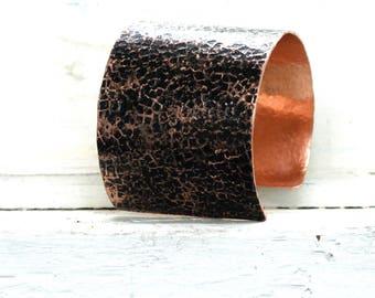 Hammered Chunky Boho Copper Cuff, Anniversary Gift for Wife From Wife, Copper Anniversary for Wife, 7 Year Anniversary Gift From Husband