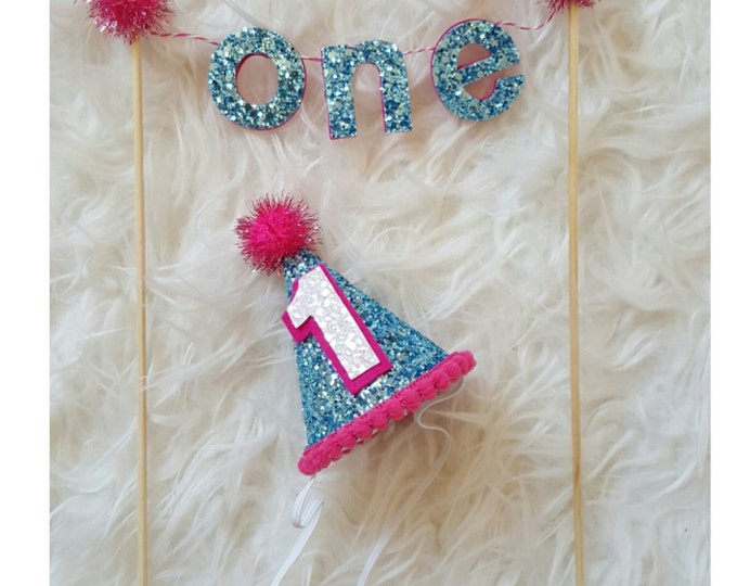 Metallic Aqua and Hot Pink Cake Banner and Mini Hat Set | Cakesmash Set | Photo Prop | Party Hat | First Birthday | Ready to Ship