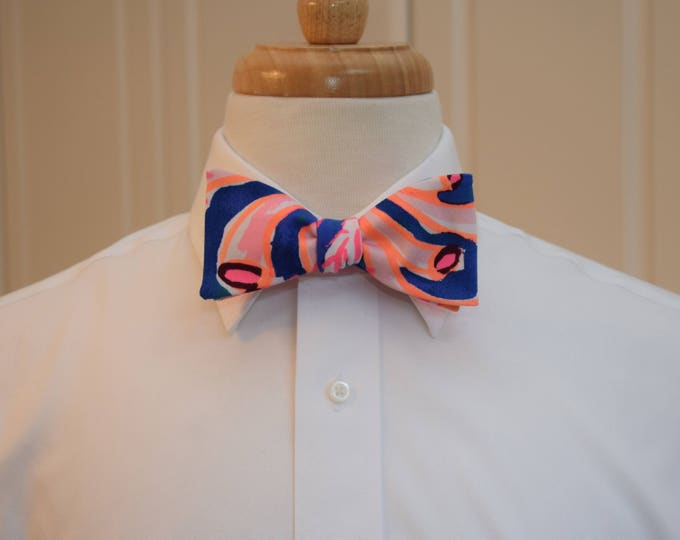 Men's Bow Tie, Swirling Seadream cobalt blue/neon coral 2018 Lilly print, Kentucky Derby bow tie, prom bow tie, groom/wedding party bow tie