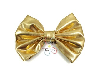 "Gold Metallic Shiny Bow - 4.75"" - Large Hair Bow - DIY Hair Clip Headbands DIY Supplies - Your Choice of Quantity"