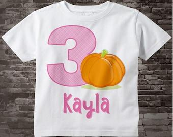Halloween Pumpkin Birthday Shirt Or Onesie for girls, Any age or name, 3 Year Old Girl, Cute Pumpkin Birthday Shirt or Bodysuit 09212017a