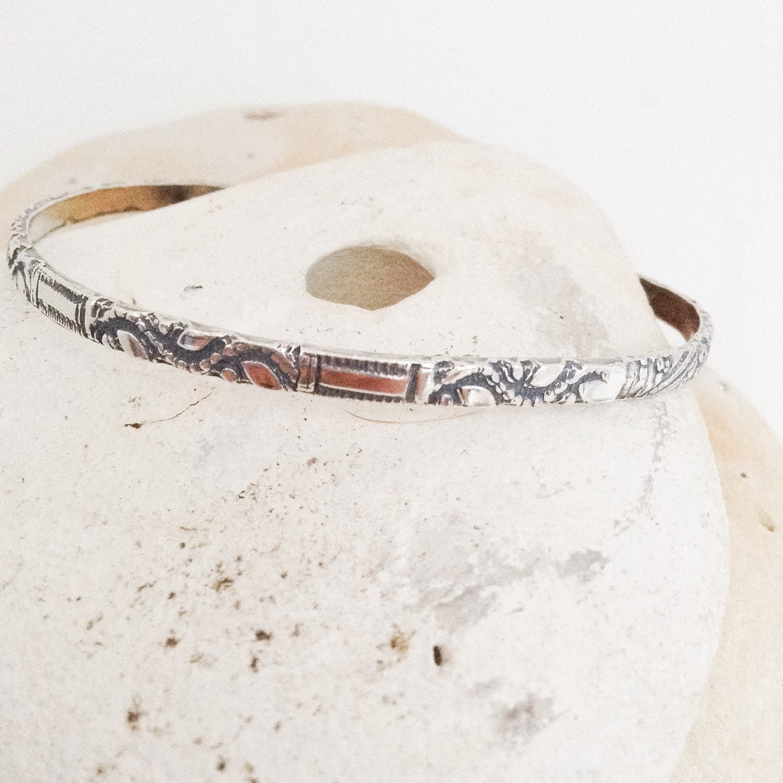Sterling silver bracelet - cuff bangle - hand patterned - hallmarked