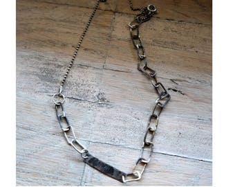 Sterling Silver Necklace, raw silver necklace, hammered bar, silver hammered chain, Unique Necklace,