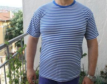 Vintage Naval Seaman Striped T-Shirt, Man Blouse, Cotton T-Shirt, XL Size, Unused Condition, Gift Idea