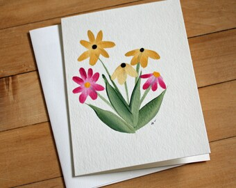 Handpainted Greeting Card with Flowers, Blank Greeting Card, Note Card, Art Card, Any Occasion, Birthday Card, Painting, Floral, Handmade