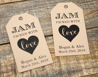 Jam packed with Love Tag - Jam Wedding Favor - Honey Wedding Favor - Spread Wedding Favor - Wedding Favor Ideas - Custom Tags - MEDIUM