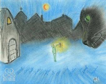 Retablo Folk Art - Black Cats, Wall Art, Village Silhouette, Harvest Moon In Sky, Vintage Lantern, Original Conte Crayon Illustration