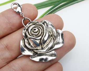 Own Charm , Silver Rose Necklace / Silver Chain / Rose pendant / Flower Necklace / Silver Flower