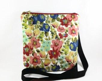 Floral Print Crossbody Bag, Cross Body Purse, Hip Bag, Shoulder Strap Bag, Medium Size Purse, Coral Red Blue Fabric Zipper Purse