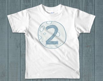 2nd Birthday Shirt, Birthday Boy Outfit, Outer Spaced Theme, Two The Moon, Two Shirt, Blue Moon, Turning Two, Short Sleeve Kids Shirt, Moon
