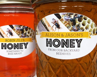 Custom Busy Bees Oval Honey labels for quilted mason jars, personalized horizontal oval honeycomb jar labels for backyard beekeeper gifts