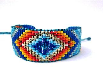 Huichol Inspired Beaded Geometric Mandala Bracelet, Original Design 16, Blue Diamond Center