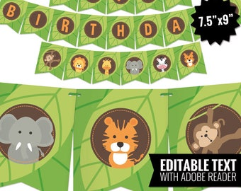 Safari Birthday Banner - Jungle Theme Bunting Banner - Printable Pennant Garland - Safari Gender Neutral Birthday Party Decoration. Editable