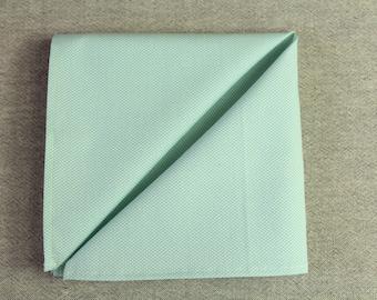 Mens Pocket Square, Mint Green Cotton Hankie, Mint Handkerchief