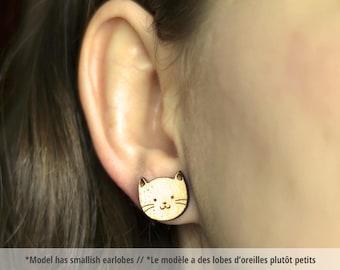 Wood Cat studs. Cute cat earrings, hypoallergenic cat earrings, wood cat studs, kitten jewelry, kitten earrings, wood kitten studs
