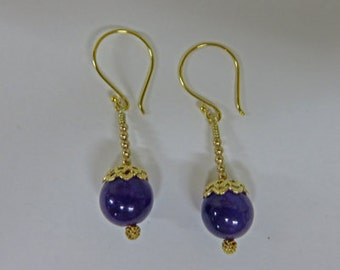 Amethyst Earrings - Natural Amethyst Balls - Gold-Filled & Vermeil Amethyst Earrings - February Birthstone Earrings